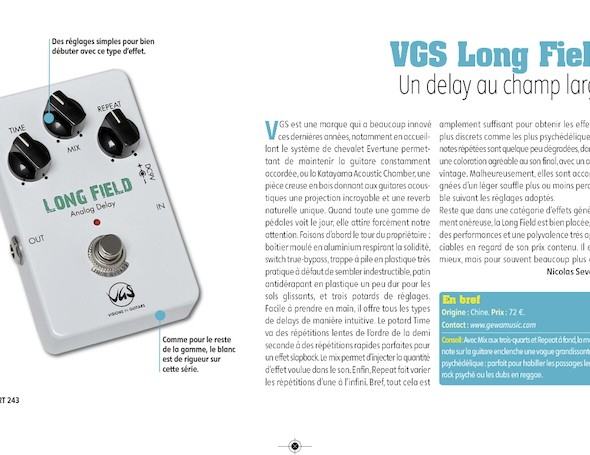Long Field Delay Pédale d'Effet VGS – Guitar Part n°243
