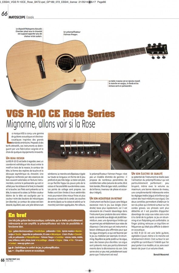 R-10 CE Rose VGS – Guitar Part n°243